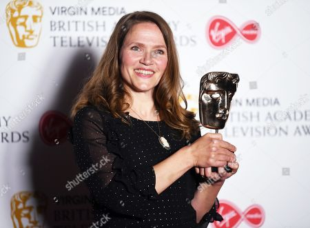 Jessica Hynes, winner of the Best Female Performance in a Comedy Programme Award for 'There She Goes' in the press room at the Virgin Media British Academy Television Awards at the Royal Festival Hall in London, Britain, 12 May 2019. The ceremony is hosted by the British Academy of Film and Television Arts (BAFTA).