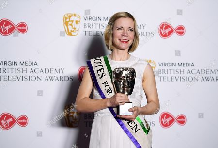 Lucy Worsley with the BAFTA Specialist Factual Award in the press room at the Virgin Media British Academy Television Awards at the Royal Festival Hall in London, Britain, 12 May 2019. The ceremony is hosted by the British Academy of Film and Television Arts (BAFTA).