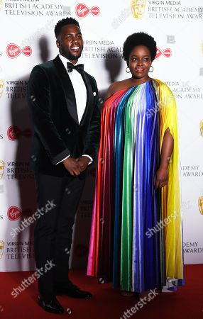 Mo Gilligan (L) and Lolly Adefope (R) in the press room at the Virgin Media British Academy Television Awards at the Royal Festival Hall in London, Britain, 12 May 2019. The ceremony is hosted by the British Academy of Film and Television Arts (BAFTA).