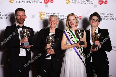 Robin Daly, Emma Hindley, Lucy Worsley and Emma Frank with the BAFTA Specialist Factual Award in the press room at the Virgin Media British Academy Television Awards at the Royal Festival Hall in London, Britain, 12 May 2019. The ceremony is hosted by the British Academy of Film and Television Arts (BAFTA).