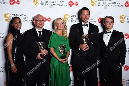 (2L-2R) Phil Bigwood, Debbie Dubois and Steve Rudge with the Best Sport Award for the '2018 World Cup Quarter Final Coverage' with Alex Scott (L) and Billy Monger (R) in the press room at the Virgin Media British Academy Television Awards at the Royal Festival Hall in London, Britain, 12 May 2019. The ceremony is hosted by the British Academy of Film and Television Arts (BAFTA).