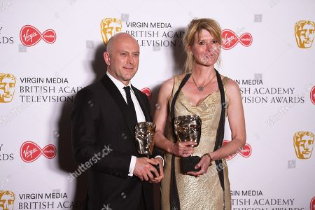 Phil Clarke (L) and Julia Davis (R), winners of the Best Scripted Comedy Award for 'Sally4Ever' in the press room at the Virgin Media British Academy Television Awards at the Royal Festival Hall in London, Britain, 12 May 2019. The ceremony is hosted by the British Academy of Film and Television Arts (BAFTA).