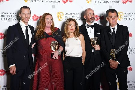 The Cast and Crew of Patrick Melrose Benedict Cumberbatch (L), Helen Flint (2-L), Edward Berger (2-R) and Michael Jackson (R) after winning the award for Best Mini-Series in the press room at the Virgin Media British Academy Television Awards at the Royal Festival Hall in London, Britain, 12 May 2019. The ceremony is hosted by the British Academy of Film and Television Arts (BAFTA).