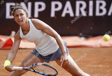 Sara Errani of Italy in action against Viktoria Kuzmova of Slovakia during their women's singles first round match at the Italian Open tennis tournament in Rome, Italy, 13 May 2019.