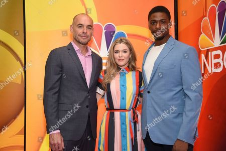 "Paul Blackthorne, Harriet Dyer, Justin Cornwell. Paul Blackthorne, from left, Harriet Dyer and Justin Cornwell, from the cast of ""The InBetween,"" attend the NBC 2019/2020 Upfront at The Four Seasons New York on"