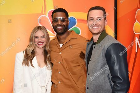 "Tracy Spiridakos, LaRoyce Hawkins, Jesse Lee Soffer. Tracy Spiridakos, from left, LaRoyce Hawkins and Jesse Lee Soffer, from the cast of ""Chicago P.D.,"" attend the NBC 2019/2020 Upfront at The Four Seasons New York on"