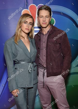 """Melissa Roxburgh, Josh Dallas. Melissa Roxburgh, left, and Josh Dallas, from the cast of """"Manifest,"""" attend the NBC 2019/2020 Upfront at The Four Seasons New York on"""