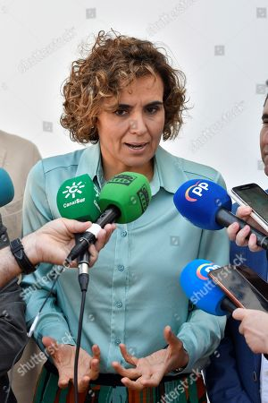 People's Party (PP) candidate for the European elections, Dolors Montserrat, speaks to the media during her visit to a farming cooperative in Roquetas de Mar, province of Almeria, Spain, 13 May 2019. The European Union parliamentary elections will take place from 23 - 26 May 2019.