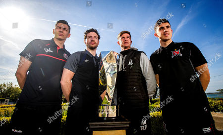 League of Ireland players representing Bohs' Cristian Magerusan, St. Pats' Barry Murphy, Shamrock Rovers' Ronan Finn and Jamie McGrath of Dundalk