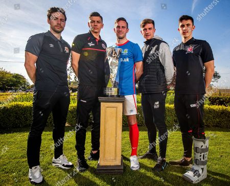 IFA and Linefield player Andrew Waterworth with League of Ireland players representing St. Pats' Barry Murphy, Bohs' Cristian Magerusan, Shamrock Rovers' Ronan Finn and Jamie McGrath of Dundalk