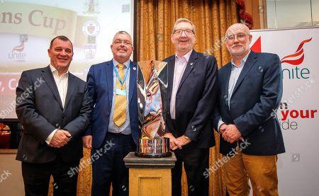 Irish FA Chief Executive Patrick Nelson, Unite Regional Secretary Jackie Pollock, Unite General Secretary Len McCluskey and FAI Director of Competitions Fran Gavin