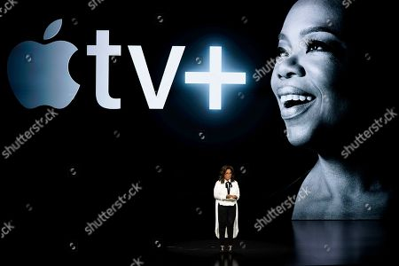 Oprah Winfrey speaks at the Steve Jobs Theater during an event to announce new Apple products in Cupertino, Calif. Apple users will be able to subscribe to HBO, Showtime and a handful of other channels directly through Apple's new TV app, bypassing the need to download or launch a separate app. The new capabilities available Monday, May 13, come ahead of Apple's plan to offer its own original shows, including ones from Oprah Winfrey and Steven Spielberg