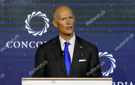 US Republican Senator for Florida Rick Scott takes part in the Americas' Concordia Forum, in Bogota, Colombia, 13 May 2019.