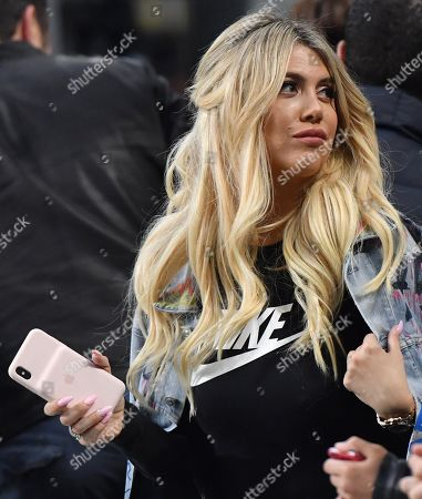 Stock Image of Inter's Mauro Icardi's wife, Wanda Nara, attends the Serie A soccer match between Inter FC and Chievo Verona at the Giuseppe Meazza stadium in Milan, Italy, 13 May 2019.