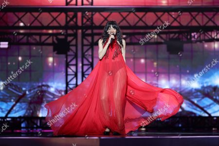 Israeli pop singer Dana International winner of the Eurovision Song Contest 1998 performs during Semi Final dress rehearsals of the 64th annual Eurovision Song Contest (ESC) at the Expo Tel Aviv, in Tel Aviv, Israel, 13 May 2019. The Grand Final is held on 18 May.