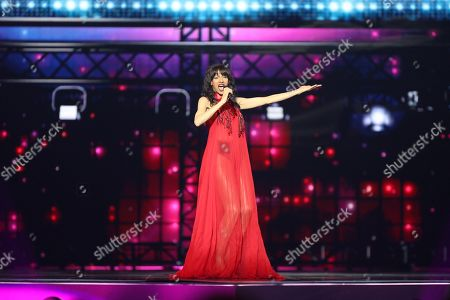 Stock Photo of Israeli pop singer Dana International winner of the Eurovision Song Contest 1998 performs during Semi Final dress rehearsals of the 64th annual Eurovision Song Contest (ESC) at the Expo Tel Aviv, in Tel Aviv, Israel, 13 May 2019. The Grand Final is held on 18 May.