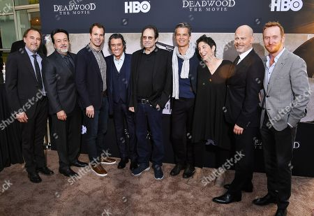 Stock Image of Gregg Fienberg, Len Amato, Casey Bloys, Ian McShane, David Milch, Timothy Olyphant, Carolyn Strauss, Daniel Minahan and Tony Curran