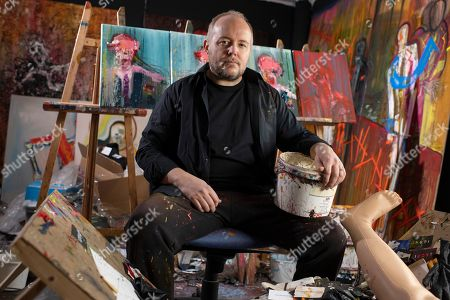 Artist Lincoln Townley in his studio, with finished new works bound for the Venice Bienale.