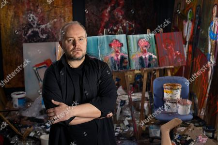 Editorial picture of Artist Lincoln Townley in his studio, Bollington, Yorkshire, UK - 05 Apr 2018