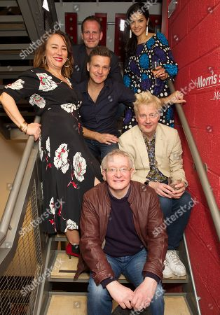 Stock Image of Back row from left to right: Tim Wallers as Huw Edwards, Davina Moon, Arabella Weir, Dugold Bruce-Lockhart (middle) as Michael Gove/Jack the Agent, Will Barton as Boris Johnson (blond hair) and Steve Nallon (front row) as Baroness Margaret Thatcher.