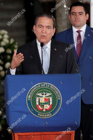 Panama's elect President Laurentino Cortizo speaks during a press conference with the President Juan Carlos Varela (out of frame) after a meeting of command handover at the Presidential Palace, in Panama City, Panama, 13 May 2019