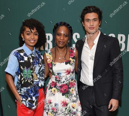 Yara Shahidi, Nicola Yoon and Charles Melton