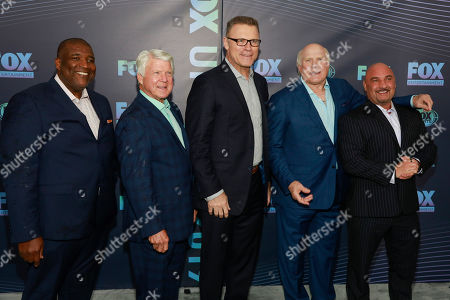 Curt Menefee, Jimmy Johnson, Howie Long, Terry Bradshaw, Jay Glazer. Curt Menefee, from left, Jimmy Johnson, Howie Long, Terry Bradshaw and Jay Glazer attend the FOX 2019 Upfront party at Wollman Rink in Central Park, in New York