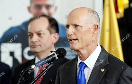 US Senator Rick Scott speaks during a visit to the Center for Inclusive Rehabilitation (CRI), where sport and employment inclusion are extended to members of the Colombian armed forces wounded in combat, in Bogota Colombia, 13 May 2019. At least eight people have been killed in Colombia furing 2019 by anti-personnel mines, including six soldiers and one police officer according to Colombian Defense Minister Guillermo Botero.