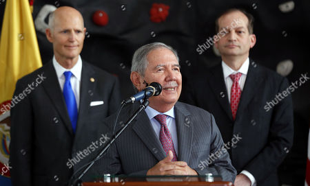 Colombian Defense Minister Guillermo Botero (C) speaks during a visit to the Center for Inclusive Rehabilitation (CRI), where sport and employment inclusion are extended to members of the Colombian armed forces wounded in combat, in Bogota Colombia, 13 May 2019. At least eight people have been killed in Colombia furing 2019 by anti-personnel mines, including six soldiers and one police officer according to Colombian Defense Minister Guillermo Botero.