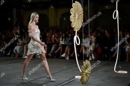 A model exhibits creations by Alice McCall during the Mercedes-Benz Fashion Week Australia in Sydney, Australia, 14 May 2019.