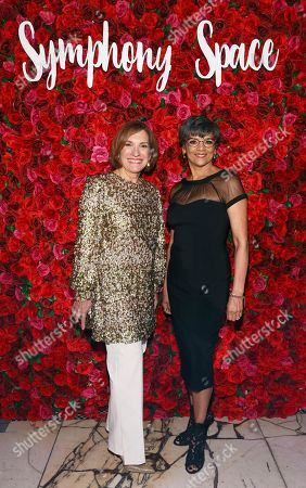 Gala honoree, Elaine Hochberg, left, is pictured with Sonia Manzano, right, who presented Hochberg with the Vision Award at the Symphony Space Annual Gala on in New York. Symphony Space was founded in the belief that the arts bring people together, transcend barriers, and celebrate both our similarities and differences