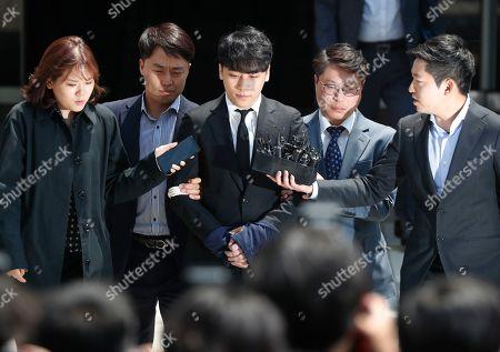 Kpop singer Seungri appears Seoul District Court Stock