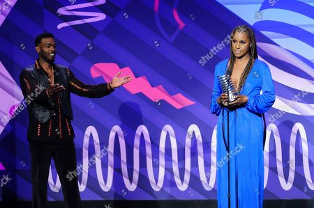 Luke James, left, and Issa Rae attend the 23rd annual Webby Awards at Cipriani Wall Street, in New York