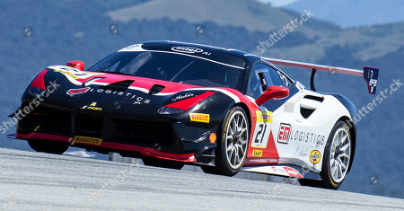 Stock Image of Monterey CA, U.S.A. #21 Danny Baker of new country competizion on Rahal Straight during the Ferrari Challenge Race 1 P/P- AM at Weathertech Raceway Laguna Seca Monterey CA Thurman James / CSM