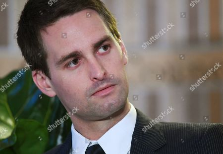 Stock Picture of Co-Founder and CEO of Snap Inc, Evan Spiegel speaks during the Wall Street Journal (WSJ) CEO Council in London, Britain, 14 May 2019. Reports state that the Wall Street Journal CEO Council connects the world's most ambitious and influential business leaders to discuss the issues shaping the future.