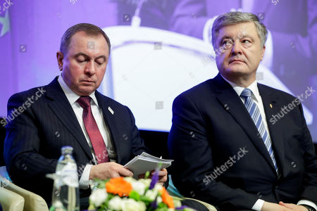 Belarus Foreign Minister Vladimir Makei (L) and Ukrainian President Petro Poroshenko (R) at the start of EU-Eastern Partnership high level conference at the European Commission in Brussels, Belgium, 14 May 2019. A series of high-level gatherings in Brussels with the participation of the six Eastern partner countries and EU member states is held to mark the 10th anniversary of Eastern Partnership.