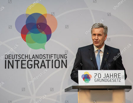 Stock Photo of Christian Wulff, former German president and Germany Foundation Integration chair, delivers a speech during an event marking the 70th anniversary of the German Basic Law ( Grundgesetz) in Berlin, Germany, 14 May 2019. The German Basic Law was approved on 08 May 1949 in the Federal Republic of Germany and came into effect on 23 May 1949. It is the German constitution.