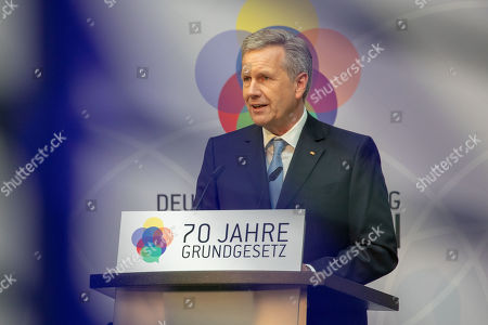 Christian Wulff, former German president and Germany Foundation Integration chair, delivers a speech during an event marking the 70th anniversary of the German Basic Law ( Grundgesetz) in Berlin, Germany, 14 May 2019. The German Basic Law was approved on 08 May 1949 in the Federal Republic of Germany and came into effect on 23 May 1949. It is the German constitution.