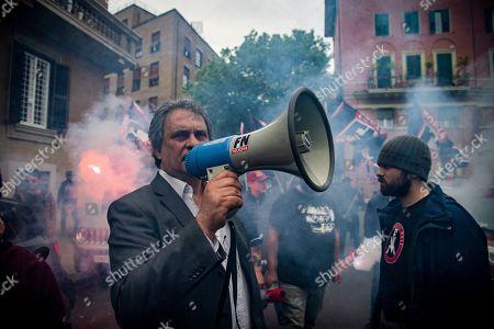 Editorial picture of Far-right Forza Nuova protest against Mimmo Lucano, La Sapienza University, Rome, Italy - 13 May 2019