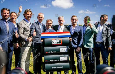 Dutch Grand Prix sporting director Jan Lammers (C-L), Formula One Group CEO Chase Carey (C), and Dutch Prince Bernhard junior(C-R) pose for photographers at the Circuit Zandvoort, Netherlands, 14 May 2019. The Dutch Formula One Grand Prix will return to Zandvoort in May 2020 for the first time since 1985.