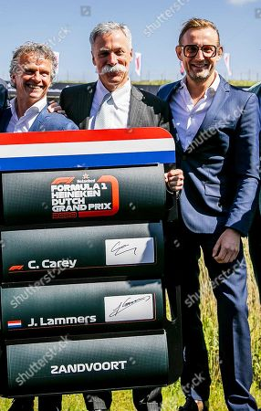 Dutch Grand Prix sporting director Jan Lammers (L), Formula One Group CEO Chase Carey (C), and Dutch Prince Bernhard junior(R) pose for photographers at the Circuit Zandvoort, Netherlands, 14 May 2019. The Dutch Formula One Grand Prix will return to Zandvoort in May 2020 for the first time since 1985.