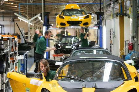 Stock Picture of Lotus cars, hand made on the production line.