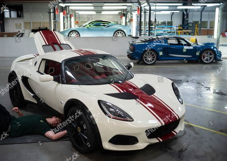 Stock Image of Lotus cars, hand made on the production line.