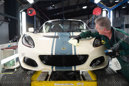 Stock Photo of Lotus cars, hand made on the production line.