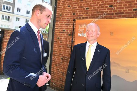 Prince William (L) is greeted by William Hague (R) as he arrives at the Royal Geographic Society in London, Britain, 14 May 2019, to attend a meeting of the United for Wildlife, a program run by The Royal Foundation that aims to combat illegal wildlife trade around the globe.