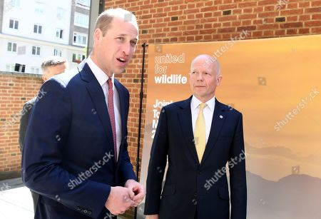 Stock Picture of Prince William (L) is greeted by William Hague (R) as he arrives at the Royal Geographic Society in London, Britain, 14 May 2019, to attend a meeting of the United for Wildlife, a program run by The Royal Foundation that aims to combat illegal wildlife trade around the globe.