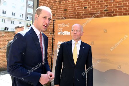 Stock Photo of Prince William (L) is greeted by William Hague (R) as he arrives at the Royal Geographic Society in London, Britain, 14 May 2019, to attend a meeting of the United for Wildlife, a program run by The Royal Foundation that aims to combat illegal wildlife trade around the globe.