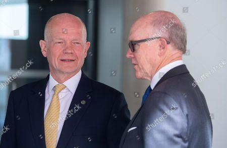 Stock Image of US Ambassador to Britain Woody Johnson (R) is greeted by William Hague as he arrives at the Royal Geographic Society in London, Britain, 14 May 2019, to attend a meeting of the United for Wildlife, a program run by The Royal Foundation that aims to combat illegal wildlife trade around the globe.