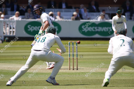 Nick Gubbins edges Chris Wright just short of slip during the Specsavers County Champ Div 2 match between Middlesex County Cricket Club and Leicestershire County Cricket Club at Lord's Cricket Ground, St John's Wood