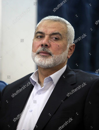 "Palestinian Hamas chief in the Gaza strip Ismail Haniyeh attends the Palestinian Legislative Council a special session to mark the 71st anniversary of the ""Nakba"" in Gaza City"